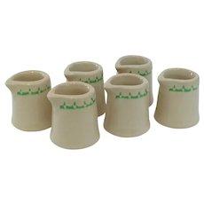 Six Restaurantware Individual Coffee Creamers 1940s Heavy Stoneware