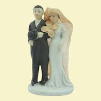Old Bisque Wedding Cake Topper, 1920s Top Hat and Veil!