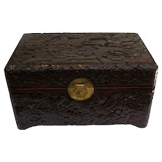 A Large Hand Carved Asian Box