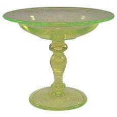 A Vintage Vaseline Glass Compote