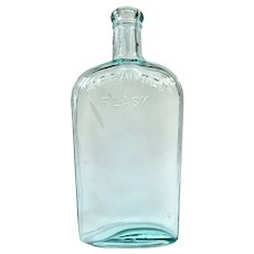 Wonderful Old Aqua Glass Warranted Flask Circa 1900