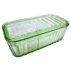 Rectangular Depression Glass Uranium Green Refrigerator Dish