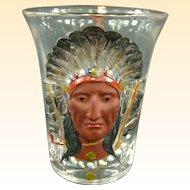 Masonic Syrian 1903 Sara Toga Indian Souvenir Whiskey Glass