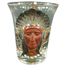 Masonic Syrian 1903 Sara Toga Indian Souvenir Whiskey Glass