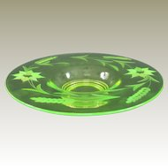 Neon Electric Uranium Elegant Depression Glass Wheel Cut Console Bowl