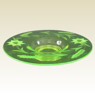 Neon Electric Uranium Elegant Depression Glass Wheel Cut Console Bowl