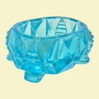 A Pretty Aqua Blue Glass Open Salt or Salt Dip
