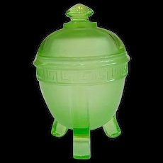 Art Deco Uranium Green Glass Powder or Trinket Jar - Red Tag Sale Item