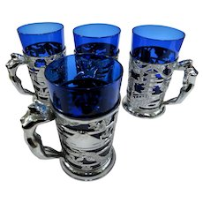 Vintage Exotic Asian Themed Nudie Cobalt and Chrome Bar Glasses