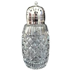 An Elegant English Cut Crystal Sugar Shaker EPNS Top