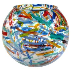 An Amazing Hand Blown Multi-Color Art Glass Fishbowl Vase