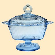 Vintage Indiana Glass Ice Blue Open Edge Candy Dish