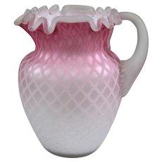 Vintage Venetian Art Glass Diamond Quilted Pitcher