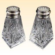 Elegant Vintage Birks Sterling Cut Lead Crystal Salt and Pepper Shakers Circa 1930