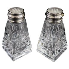 Elegant Vintage Birks Sterling Cut Lead Crystal Salt and Pepper Shakers Circa 1930