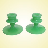 Gorgeous New Martinsville Depression Jadeite Candlesticks