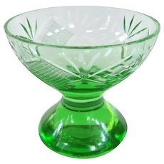 Uranium Glass Hand Cut Master Salt Cellar