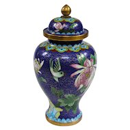Excellent Vintage Chinese Cloisonné Covered Meiping Vase in Midnight Blue