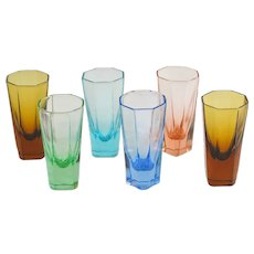 A Colorful Set of Mid Century Cordial Glasses