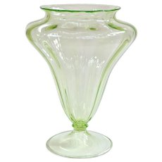 A Large Elegant Depression Glass Uranium Green Vase