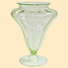 A Large Elegant Depression Glass Uranium Green Vase