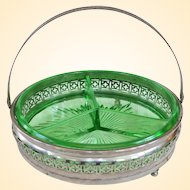A Well Made Uranium Depression Glass Divided Bowl With Metal Holder