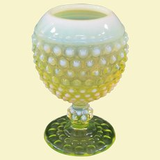 Imperial Early American Hobnail Opalescent Vaseline Glass Ivy Ball / Ivy Bowl