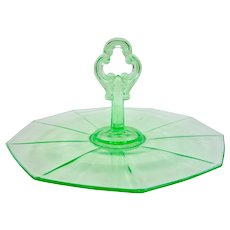 Beautiful Green Cambridge Elegant Depression Glass Center Handle Tray