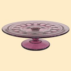 A Hard To Find Indiana Glass Thumbprint King's Crown Amethyst Cake Plate
