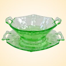 Imperial Green Uranium Depression Wheel Cut Handled Bowl and Underplate