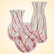 Three Vintage Swirled Glass Bud Vases after Fratelli Toso