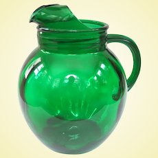 Vintage Anchor Hocking Forest Green Roly Poly Pitcher