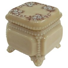 Westmoreland Beaded Edge Footed Hand Enameled Caramel Glass Trinket Box