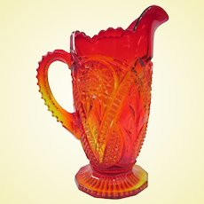 Gorgeous Vintage Viking Glass Yesteryear Amberina Pitcher