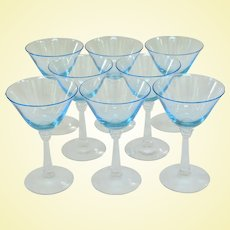 Set of Eight Elegant Fostoria Sceptre Blue Liquor Stems 1937 - 1943