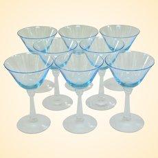 Set of Eight Elegant Fostoria Sceptre Blue Liquor Stems 1937 - 1943