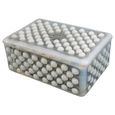 Anchor Hocking Moonstone Cigarette Trinket Box 1942-1946