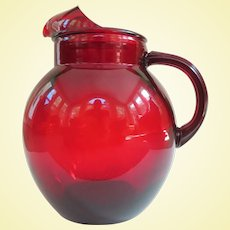 Vintage Anchor Hocking Ruby Red Roly Poly Pitcher
