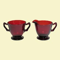Vintage Anchor Hocking Royal Ruby Creamer and Sugar