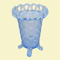Imperial Blue Opalescent Basket Weave Open Edge Vase