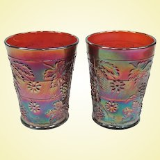 Two Beautiful Amethyst Carnival Glass Dugan Floral and Grape Tumblers