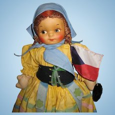 "14"" Georgene Cloth Doll in Regional Czechoslovakia Outfit w/ Tag and Flag"