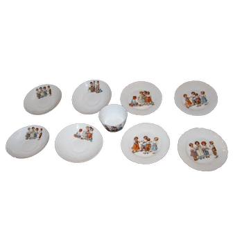 Great Lot of Porcelain Children's Dishes with Images of Children Playing