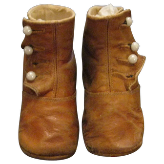Antique Children's or Doll's Button-Up Leather Shoes - Chestnut Brown