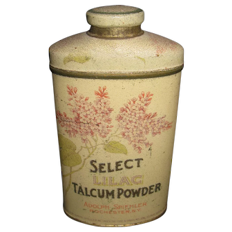 Vintage Select Lilac Talcum Powder Tin - Adolph Spiehler - Rochester, NY