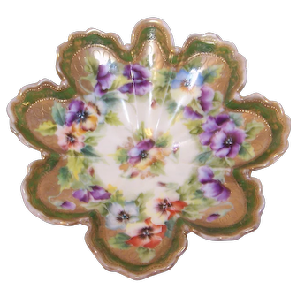 Antique Nippon Dish w/ Purple and Yellow Pansies - Blue Maple Leaf Mark