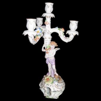 Antique Von Schierholz Hand-Painted Candelabra w/ Cherub & Flowers