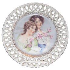 Antique Porcelain Portrait Plate w/ Reticulated Edge - Two Women w/ Flowers
