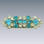 Vintage duette Dress Clips with turquoise and crystal rhinestones