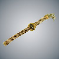 Antique pat'd date 1880's gold tone fringed mesh slide Bracelet with seed pearls
